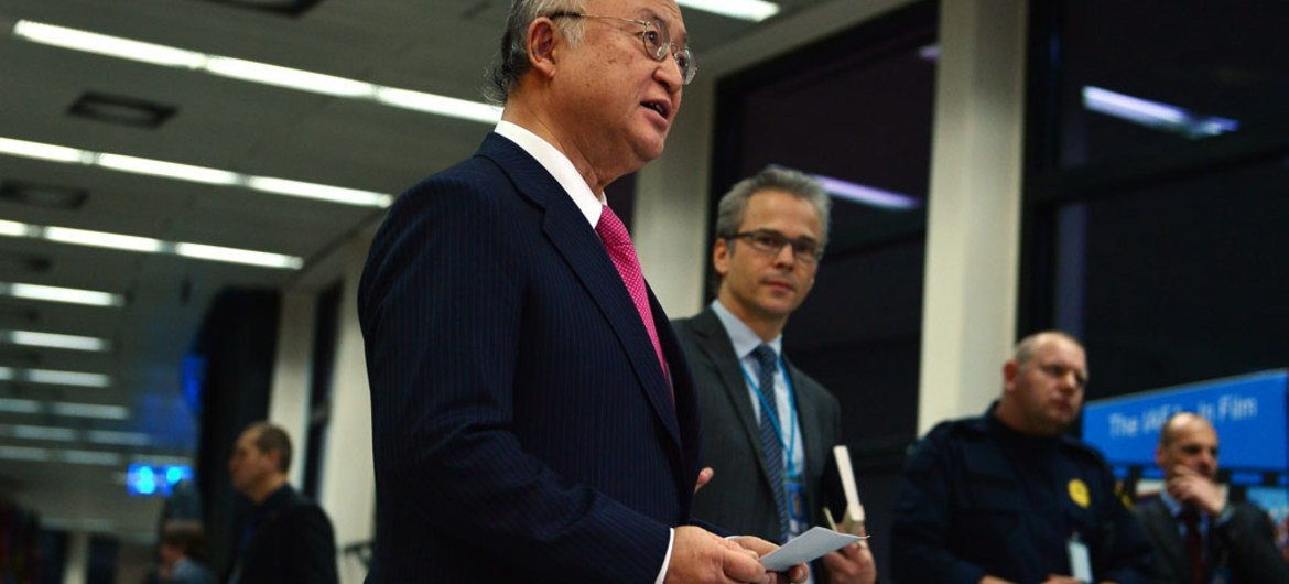 International Atomic Energy Agency (IAEA) Director General Yukiya Amano briefs the press following release of his report on 16 January 2016, confirming that Iran has completed necessary preparatory steps to start the implementation of a plan of action aiming to resolve the nuclear issue.