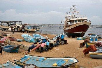 Des pêcheurs à Gaza. Photo OIT