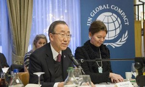 Secretary-General Ban Ki-moon participates in a Global Compact event on UN-Business Collaboration in Davos, Switzerland.
