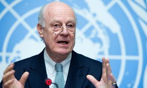 Special Envoy for Syria Staffan de Mistura speaks to the press on the Intra-Syrian discussions which will take place in Geneva on 29 January 2016.