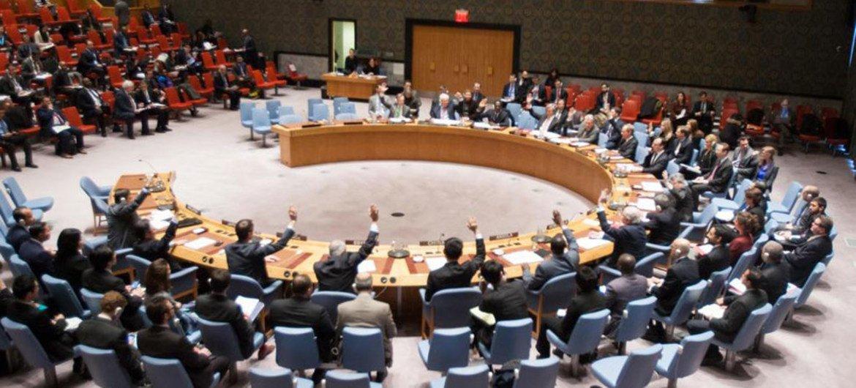 安理会会场资料图片。联合国图片/Manuel Elias