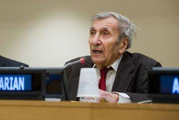 Jean Gazarian at the commemoration of UNITAR's 50th anniversary.