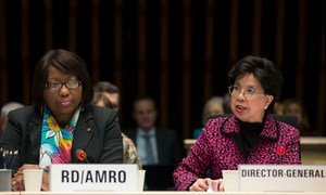 Director of the Pan American Health Organization (PAHO) Dr. Carissa F. Etienne (left), and World Health Organization (WHO) Director-General Dr. Margaret Chan, at WHO Executive Board meeting on Zika virus situation.