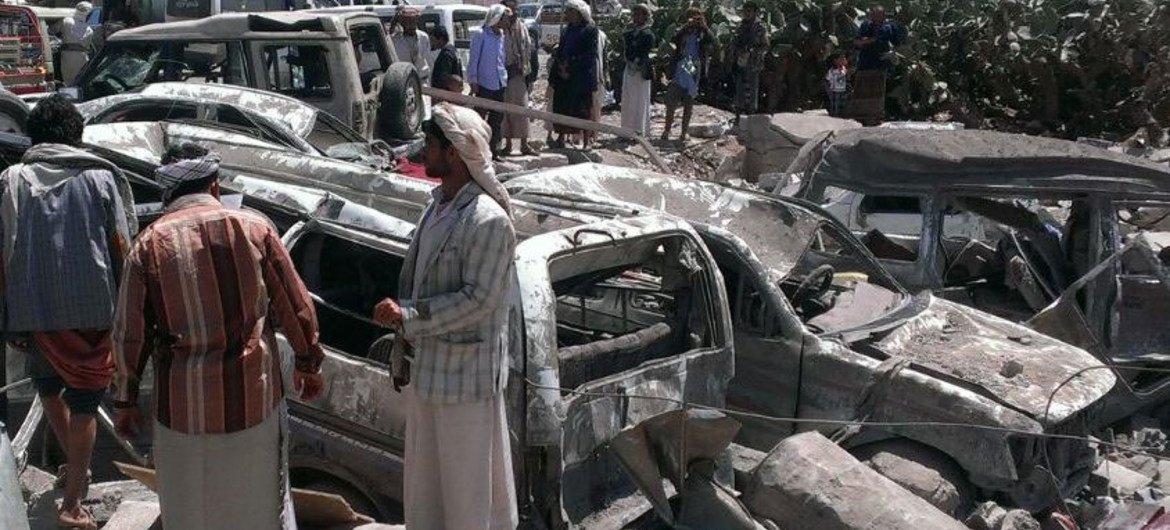 The aftermath of a bombing by the Saudi-led coalition in Yemen.