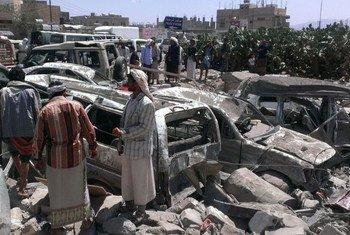 Les conséquences d'un bombardement aérien de la coalition menée par l'Arabie saoudite au Yémen. Photo : Almigdad Mojalli / IRIN