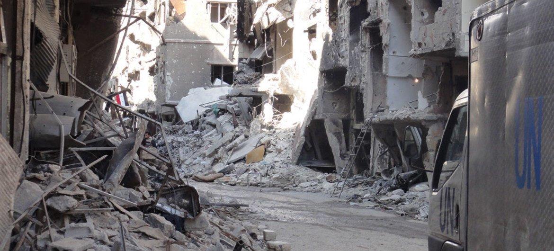 Разрушения в районе Дамаска в Сирии Фото БАПОР