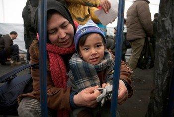 一名阿富汗男孩在克罗地亚一个难民和移徙者中转站从儿基会工作人员手中接过一双温暖的手套。儿基会图片/Vanda Kljajo