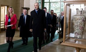 Delegation from the Syrian Government arrives for the UN-mediated intra-Syrian talks in Geneva.