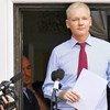 Le fondateur de Wikileaks, Julian Assange, lorsqu'il était réfugié à l'intérieur de l'ambassade d'Equateur à Londres
