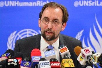 UN High Commissioner for Human Rights, Zeid Ra'ad Al Hussein, briefs the media at the UN Compound in Colombo, Sri Lanka.