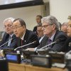 Secretary-General Ban Ki-moon (2nd from left) briefs the General Assembly on his World Humanitarian Summit report. Also pictured (from left): OCHA's Stephen O'Brien, General Assembly President Mogens Lykketoft and Catherine Pollard, USG for General Assembly and Conference Management.