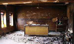A destroyed classroom at Gerver Secondary School in Ninewa Governorate, Iraq. Much of the school was damaged when the area was occupied by militants in 2015. UNICEF/UNI199916/Jemelikova