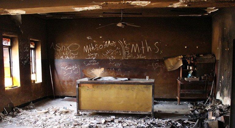 Aula destruida en provincia de Ninewa, Iraq.