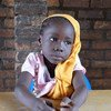 In Banguis PK5 Muslim enclave, a little girl sits in a classroom in Koudougou elementary school. As most schoolteachers are afraid to go into the enclave, the school has not been functioning properly for two years.
