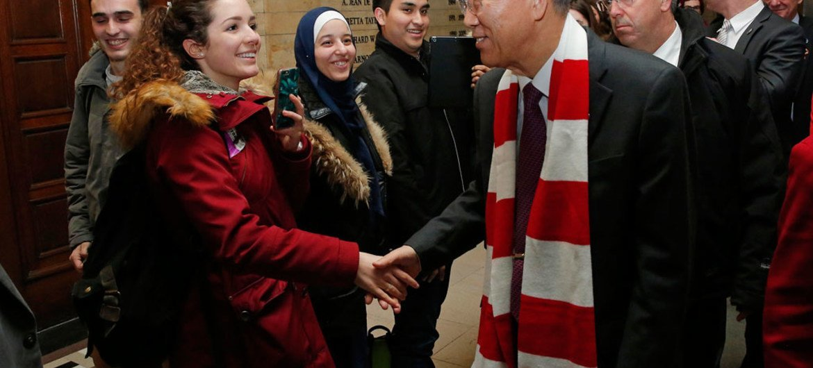In Canada, Secretary-General Ban Ki-moon shakes hands with students at McGill University, where he delivered a lecture.