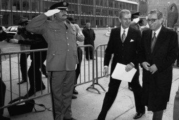 联合国前秘书长加利资料图片。联合国图片/John Isaac
