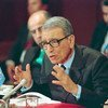 Secretary-General Boutros Boutros-Ghali is shown addressing a press conference at United Nations Headquarters on 1 February 1994.