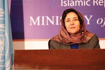 La Représentante spéciale du Secrétaire général de l'ONU pour les enfants dans les conflits armés, Leila Zerrougui, lors d'une conférence de presse à Kaboul, en Afghanistan. Photo : MANUA / Fardin Waezi