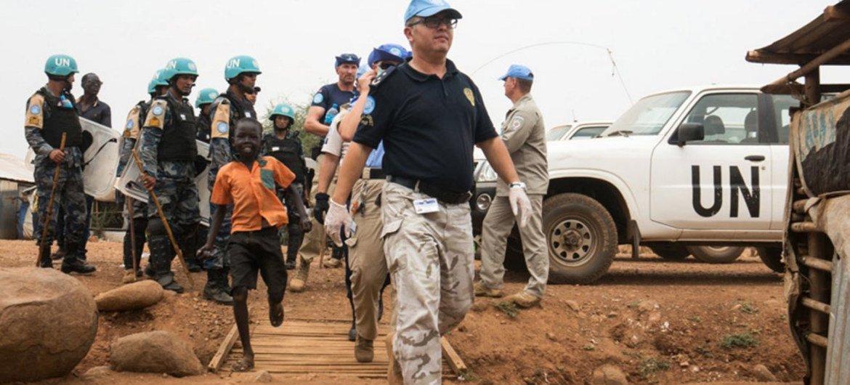 UN Police conducts search operation in Juba Protection of Civilians site, South Sudan.