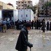 Familias de palestinos refugiados en Yarmouk.