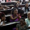 Students laugh during a class lecture at the University of Ghana in Accra. World Bank/Dominic Chavez