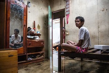 13 year-old Makereta Nasiki sits in her room, showing damage caused by Tropical Cyclone Winston in the town of Ba on Viti Levu Island of Fiji (24 February 2016).