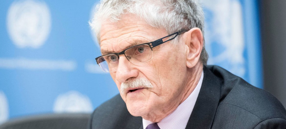 General Assembly President Mogens Lykketoft briefs  journalists on the selection process for the next Secretary-General of the United Nations.