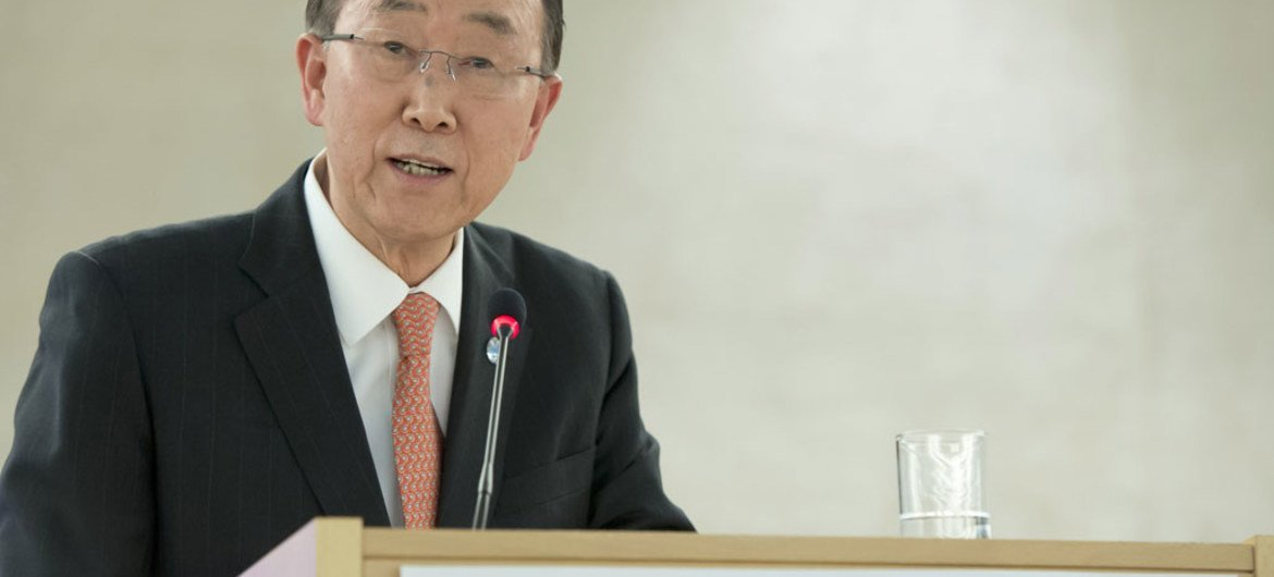 Secretary-General Ban Ki-moon at the opening of the 31st session of the UN Human Rights Council, and the High-level panel discussion on human rights mainstreaming.