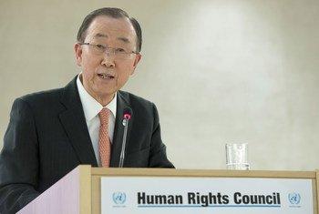 潘基文秘书长在人权理事会第31届常会高级别研讨会上发表讲话。联合国图片/Jean-Marc Ferré