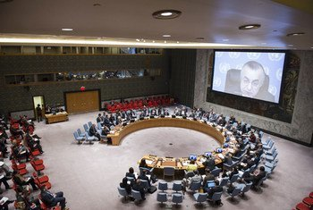 File photo of a wide view of the Security Council, being briefed via video conference by Zahir Tanin (on screen), Head of the UN Interim Administration Mission in Kosovo (UNMIK).