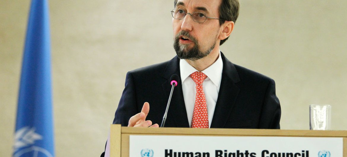 UN High Commissioner for Human Rights Zeid Ra'ad Al Hussein addresses opening of session of the Human Rights Council.