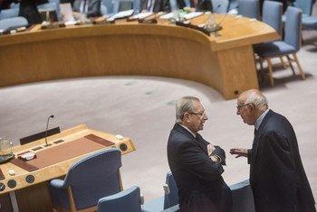 前南斯拉夫问题国际法庭庭长阿吉乌斯和刑事法庭余留事项国际处理机制主席梅龙在安理会交谈。联合国图片/Amanda Voisard