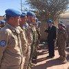 UN Secretary-General Ban Ki-moon visits MINURSO peacekeepers during his trip to the Western Sahara region. 5 March, 2016.