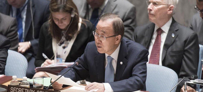 潘基文秘书长在安理会公开辩论中发言。联合国图片/Mark Garten
