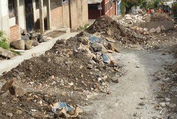 A drainage system under construction in a housing development in Tegucigalpa, Honduras.