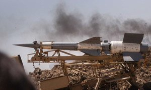 A missile on a mobile launcher.