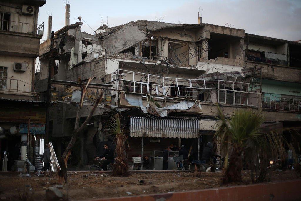 大马士革东古塔杜马地区的一条街道。
