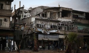 """A street in Douma, Eastern Ghouta, Syria. The OPCW Fact-Finding Mission said there were """"reasonable grounds"""" to believe chlorine gas had been used in a chemical weapons attack in April 2018."""