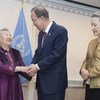 """Secretary-General Ban Ki-moon meets with Ms. Gil Won-ok, one of the victims who were drafted by Japan as so-called """"comfort women"""" during the Second World War. At right is Yoo Soon-taek, wife of Mr. Ban."""