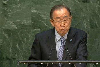 潘基文秘书长资料图片。联合国电视截图