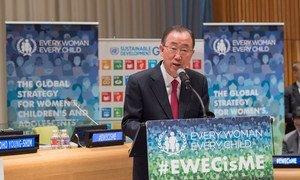 """潘基文秘书长在 """"每个妇女每个儿童""""倡议高级别会议上发言  联合国图片/Eskinder Debebe"""