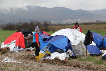Syrian refugees on the border of the former Yugoslav Republic of Macedonia and Serbia They were among the last group of people allowed to cross from Greece, before the Serbian and other borders along the Balkan route were closed.