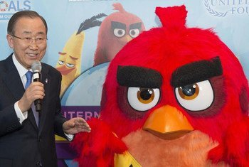 Secretary-General Ban Ki-moon with Red from the 'Angry Birds' who was appointed Honorary Ambassador for International Day of Happiness.