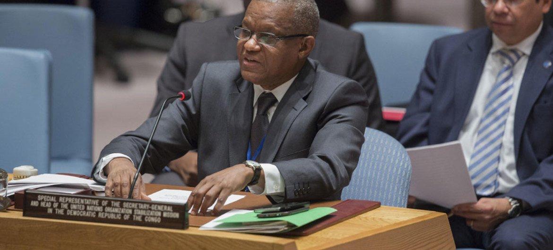 Le Représentant spécial du Secrétaire général pour la République démocratique du Congo (RDC), Mamam S. Sidikou, devant le Conseil de sécurité. Photo ONU/Manuel Elias