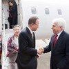 الأمين العام بان كي مون لدى وصوله الى بيروت. صور الأمم المتحدة/Mark Garten