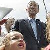 联合国秘书长潘基文出访黎巴嫩资料图片。联合国图片/Mark Garten