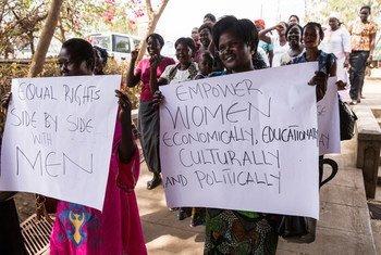 Uwezeshaji wanawake na wasichana ndio muarobaini wa kufanikisha ajenda ya 2030. Pichanini Juba huko Sudan Kusini wanawake wakiwa kwenye maandamano.