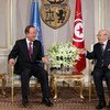 Secretary-General Ban Ki-moon (left) meets with President Beji Caid Essebsi of Tunisia,  at the Presidential Palace in Carthage, Tunisia.