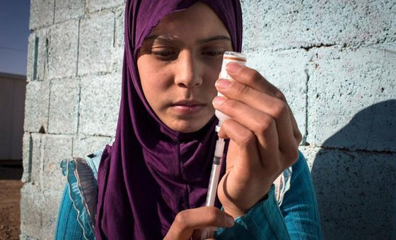 Raghad who lives in a refugee camp in Jordan, suffers from type 1 diabetes and requires daily administration of insulin, but finds it hard to keep the insulin cool in the summer with limited electricity in the camp. She exercises to stay healthy.