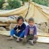 Estos niños palestinos quedaron sin hogar cuando Israel destruyó su casa junto con más de 50 estructuras en Khirbet Tana, Cisjordania. Foto: OCHA